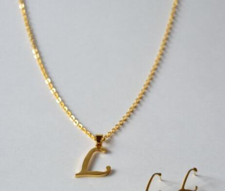 set-acero-collar-aretes-inicial-nombre-l