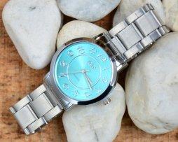Reloj Metalico Plateado Big Number Azul - relojes mujer