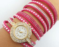 reloj-rinestone-fucsia-dorado-estilo-2
