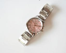 Reloj Metalico Plateado Big Number Rosado - relojes mujer
