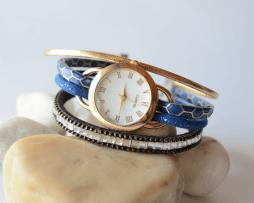 reloj-pulsera-numeros-romanos-azul