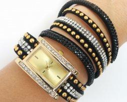 reloj-rinestone-dorado-negro-estilo-cuadrado