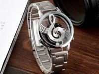Reloj Unisex Plateado Nota Musical - relojes mujer