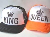 Gorra Pareja King Queen Negra Naranja - gorras hombre mujer