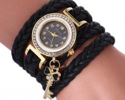 Reloj Pulsera Cordon Trenza Negro - relojes mujer