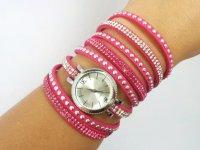 Reloj Pulsera Rinestone Fucsia Plateado - relojes mujer