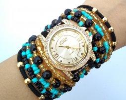 Reloj Artesanal Negro Turquesa Romano - relojes mujer