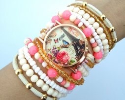 Reloj Artesanal Coral Beige Paris - relojes mujer