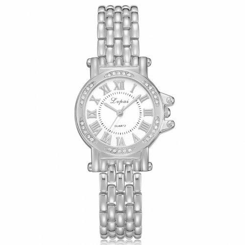 Reloj Diamond Romano Plateado Blanco - relojes mujer