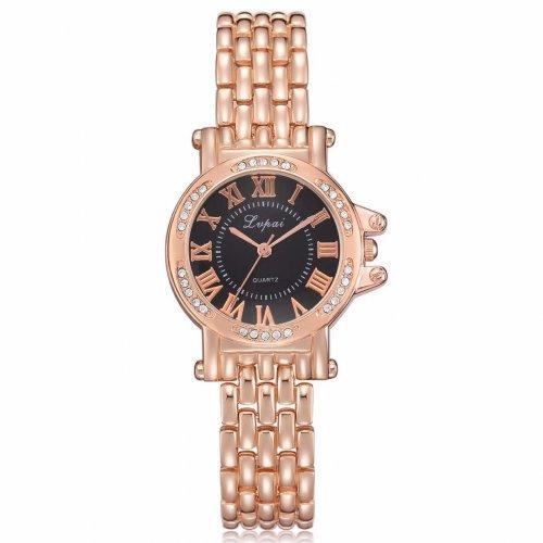 Reloj Diamond Romano Rosado Negro - relojes mujer