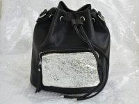 Bolso Morral Cuero Negro Metalizado - morrales de moda