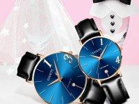 Reloj Pareja Clasico Calendario Azul - relojes pareja