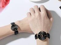 Reloj Pareja Clasico Calendario Negro - relojes pareja