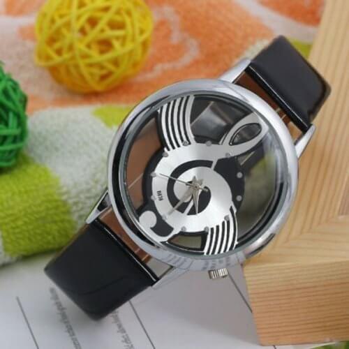 Reloj Nota Musical Negro Plateado - relojes mujer