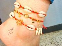 Tobillera Mujer Set Concha Roja - tobilleras moda
