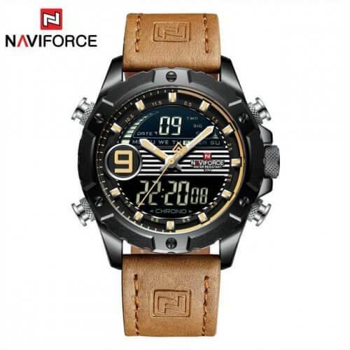 Reloj Hombre Cuero NAVIFORCE Kaki - relojes hombre