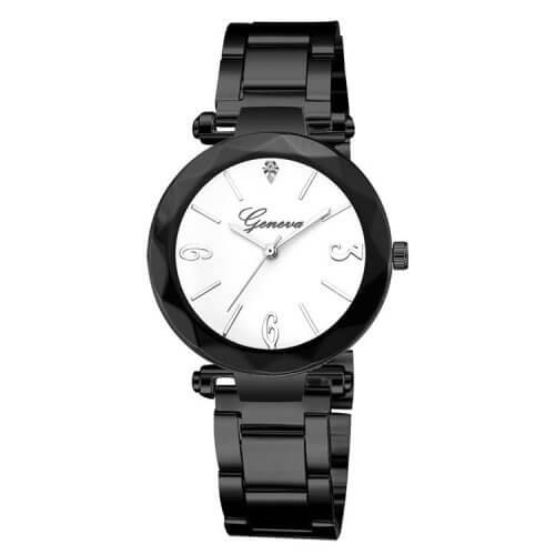 Reloj Metalico Negro Blanco Diamond - relojes mujer