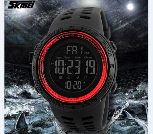 Reloj Digital Hombre Skmei Negro Rojo - reloj digital