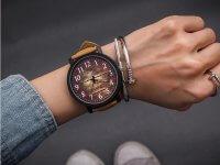 Reloj Cuero Kaki Diseño Madera - relojes mujer