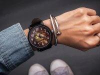 Reloj Cuero Negro Diseño Madera - relojes mujer