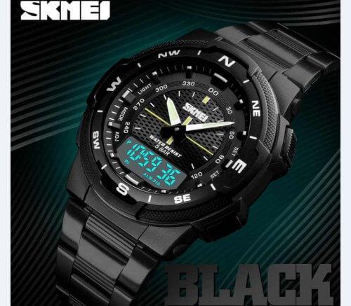 Reloj Hombre Skmei Acero Negro Dual - relojes hombre