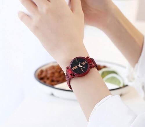 Reloj Mujer Negro Malla Iman Diamond - relojes mujer
