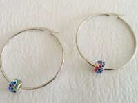 Aretes Candonga Plateada 4.5 Cms Multicolor - aretes mujer