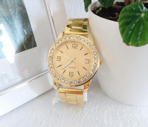 Reloj Mujer Dorado Rinestone Clasico - relojes mujer