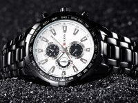 Reloj Metalico Negro Blanco Curren - relojes hombre