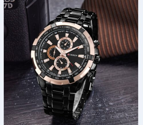 Reloj Metalico Negro Rose Curren - relojes hombre