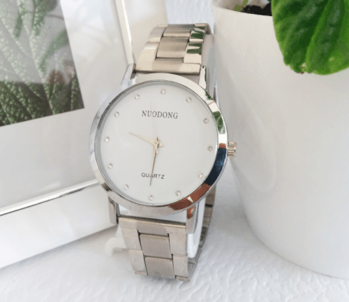 Reloj Hombre Metalico Plateado Blanco - relojes hombre