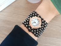 Reloj Mujer Pulsera Chaquira Negro - relojes mujer