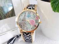 Reloj Mujer Tejido Paris Negro Blanco - relojes mujer