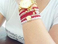 Set Pulsera 7 Capas Roja Transparente - pulseras mujer