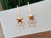 Aretes Goldfield Estrella Ojo Blancos - aretes mujer