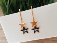 Aretes Goldfield Estrella Ojo Negros - aretes mujer