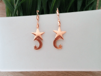Aretes Goldfield Rosados Luna Estrella - aretes mujer