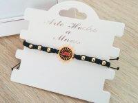 Pulsera Mujer Tejida Love Negra - pulseras de moda