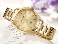 Reloj Mujer Curren Acero Dorado Fecha - reloj curren