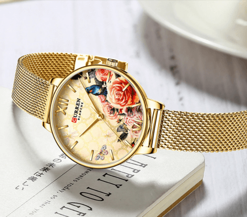 Reloj Mujer Curren Flores Dorado Malla - relojes curren