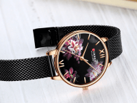 Reloj Mujer Curren Flores Negro Malla - relojes curren