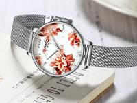 Reloj Mujer Curren Flores Plateado Malla - relojes curren