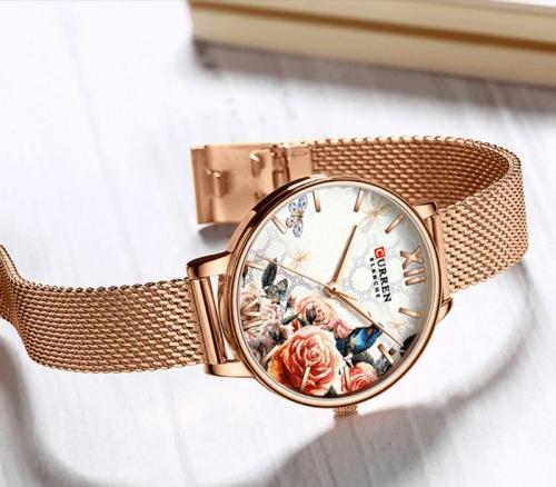 Reloj Mujer Curren Flores Rosado Malla - relojes curren